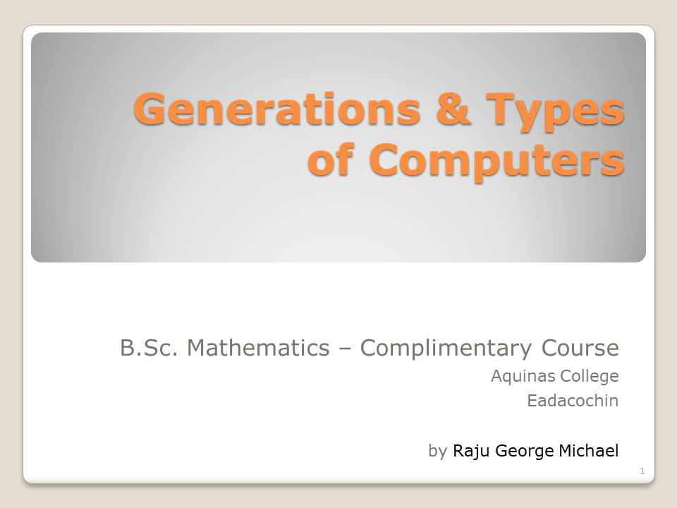 Semester 1-Generations and Types